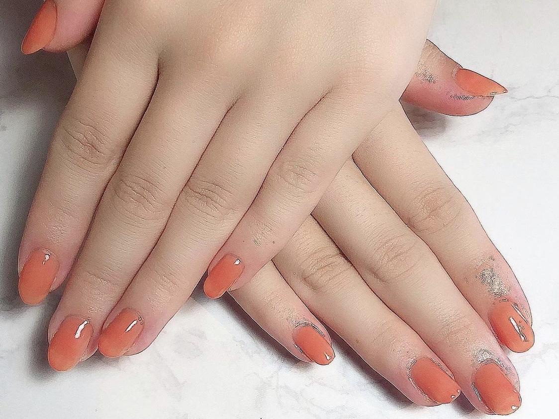 ビタミンカラー透け感オレンジのワンカラネイル♪